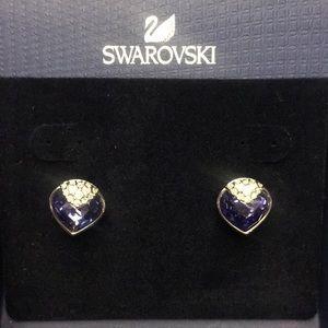 NWT SWAROVSKI Oceanic Purple Heart Earrings